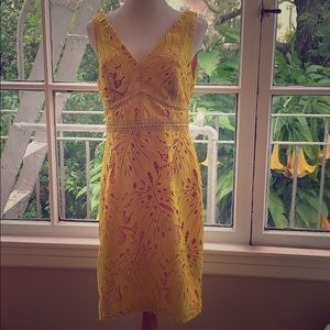 Anthropologie Lace Yellow Petite Dress
